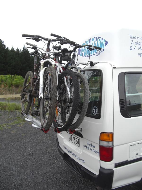Mountain Bikes on a PiwiWiwi Surf Campervan